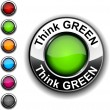 Think green  button. — Stock Vector