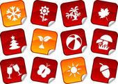 Seasons stickers. — Stock Vector