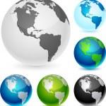 Earth balls - America. — Stock Vector