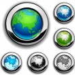Stock Vector: Earth buttons - Eurasia.