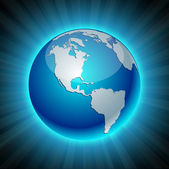 Neon Earth - America. — Stock Vector