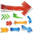 Scribbled color arrows set. - Stockvektor