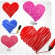 Royalty-Free Stock Vectorafbeeldingen: Scribbled hearts.