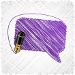 Stock Vector: Scribbled speech shape.