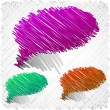 Stock Vector: Scribbled speech shapes.