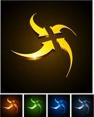 Emblemi di centraggio vibrante 3d. — Vettoriale Stock