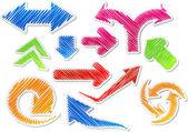 Scribbled color arrows set. — Stock Vector