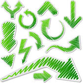 Scribbled green arrows set. — Stock Vector