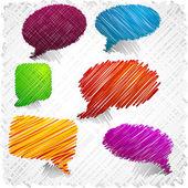 Scribbled speech shapes. — Stock Vector