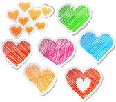 Hand drawn heart set. — Stock Vector