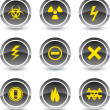 Warning icons. - Stock Vector