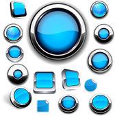 白底蓝色圆形按钮. — 图库矢量图片