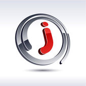 3D j letter icon. — Stock Vector