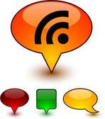 Rss speech comic icons. — Stock Vector