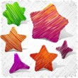 Scribbled stars shapes. — Stock Vector