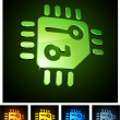 3d vibrant CPU emblems. - Stock Vector