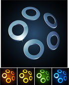 Rings vibrant emblems. — Stock Vector