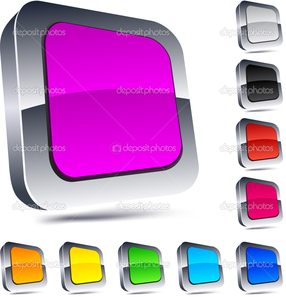 Blank 3d square buttons. Vector.  Stock Vector #5280629