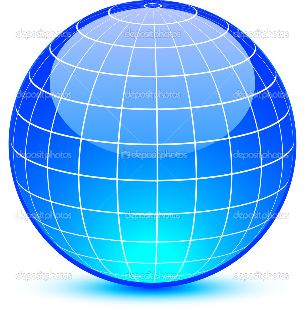 Blue glossy globe. Vector illustration. . — Stock Vector #5280640
