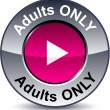 Adults only round button. - Stock Vector