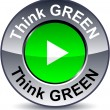 Stock Vector: Think green round button.