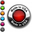 Made in USA button. - Stock Vector