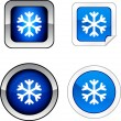 Stock Vector: Snowflake button set.