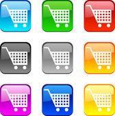 Zakupy przyciski. — Wektor stockowy