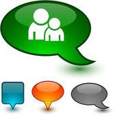 Forum speech comic icons. — Stock Vector