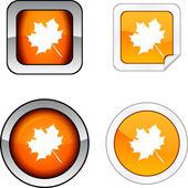 秋のボタン セット. — ストックベクタ