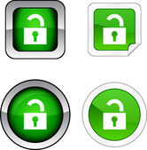 Padlock button set. — Vector de stock