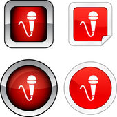 Mic button set. — Stock Vector