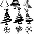 Christmas-trees and snowflakes. - Stock Vector