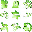 Green vibrant logos. - Stock Vector