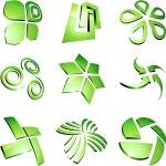 Green vibrant logos. — Stock Vector