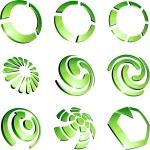 Green vibrant logo set. — Stock Vector #5316779