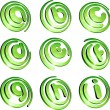 Green vibrant logo set. - Stockvektor