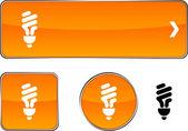 Fluorescent bulb button set. — Stock Vector