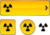 Strahlung Schaltflächenset. — Stockvektor