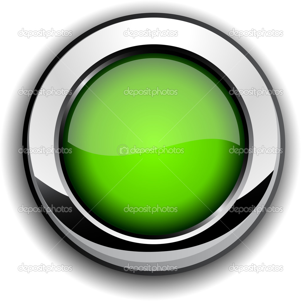Green metallic button. Vector illustration. — Stock Vector #5318651