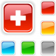 Stock Vector: Switzerland button.
