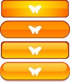 Tlačítko sada motýl. — Stock vektor