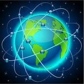 Kommunikation jorden - amerika. — Stockvektor