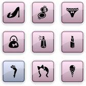 Women dim icons. — Stock Vector