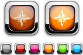 Compass button. — Stock Vector