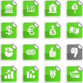 Pengar klistermärken. — Stockvektor