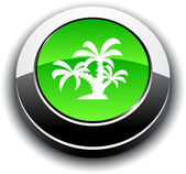 Tropical 3d round button. — Stock Vector