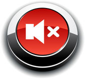 Mute 3d round button. — Stock Vector