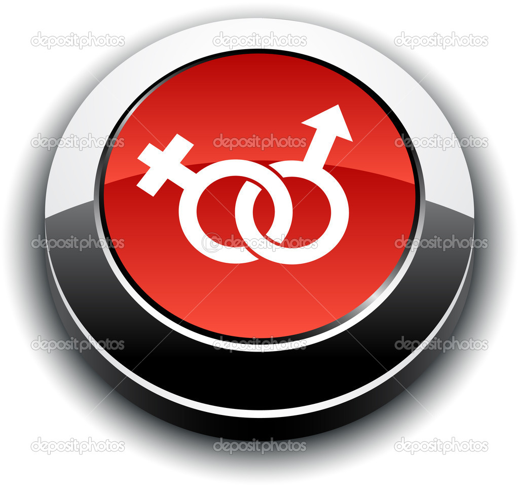 Sex metallic 3d vibrant round icon.