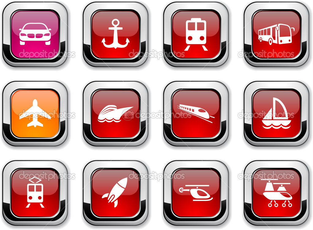 Transport glossy icons. Vector buttons.  Stock Vector #5368165
